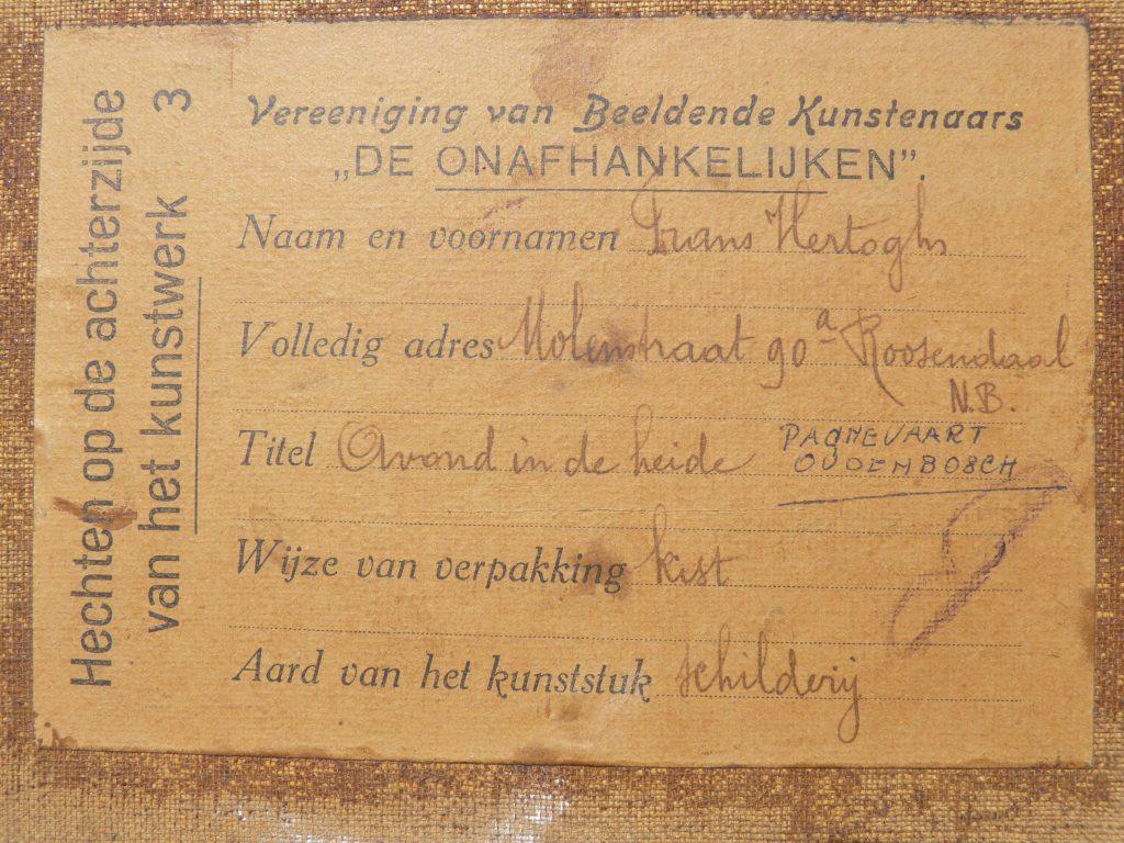 """Label van Beeldende Kunstenaarsvereniging De Onafhankelijken op achterzijde """"Avond in de heide"""""""
